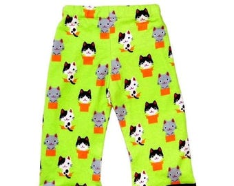 On SALE 60% OFF Cat - Harajuku Clothing - Toddler Clothing - Green Pants - Kitty - Toddler Pants - Girls Pants - Boys Pants -  2T - 3t - 4t