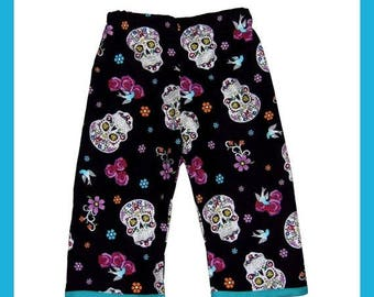 ON SALE 40% OFF Day of the Dead - Punk - Skeleton Pants - Skull Crossbones- Tattoo Clothes - Sugar Skull - Girl Pants - Toddler Pants -  2t