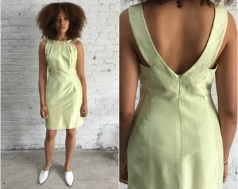 90s pastel chartreuse silk cocktail dress / 1990s Tahari light lime yellow halter dress / body con bandage dress
