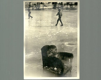 Vintage Photo Easy Chair On Ice A Place To Rest From Skating Or Playing Hockey 1940s Snapshot Photograph
