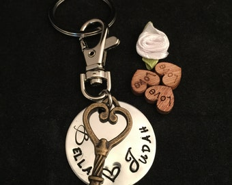 PET Memorial Keychain - Vintage Style Victorian Skeleton KEY - Hand Stamped Gift - Two Names (custom) - 2 FREE Birthstones