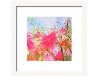 Pink Abstract Watercolor Art Print-Coral Pink Wall Decor-Modern Art-Contemporary Art-Abstract Wall Art-Giclee Print-Abstract Painting