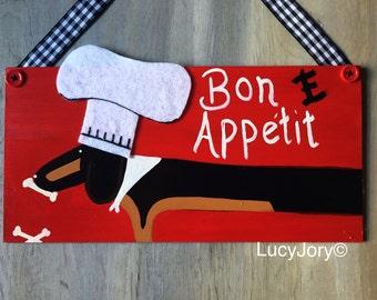 Dachshund Bon E Appétit kitchen sign