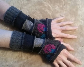 Charcoal Gray armwarmers fingerless gloves Christmas gift