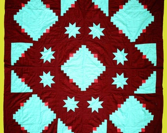 Log Cabin Star quilt top a unique beauty that is very graphic in nature
