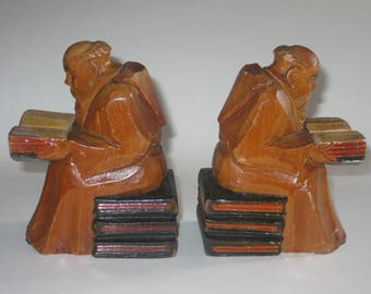 Monk Bookends Wood Carved Reading Bible Praying Mid Century Vintage