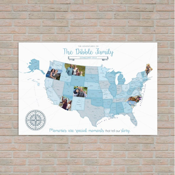 Road Trip Map Photo Travel Log Modern Map by PaperRamma on Etsy – Family Travels Map