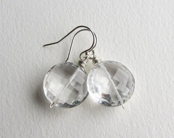 Faceted Coin Shaped Rock Crystal Wedding Earrings with Sterling Silver Heirloom Quality Made in Seattle Bridesmaid Gift Special Occasion