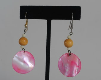 Vintage Pink Shell Earrings 1960's
