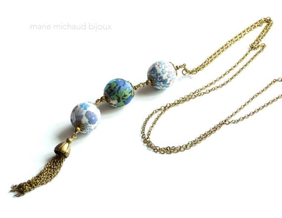 Liberty necklace,Tassel necklace,Long boho necklace,Liberty jewelry,Blue necklace,Long tassel necklace,Original textile necklace