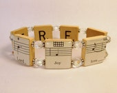 SPIRITUAL BRACELET / Music Note Jewelry / Inspirational / SCRABBLE / Vintage Sheet Music / Unusual Gifts / Religious