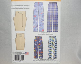 New Simplicity Pattern 8022 Easy Pajama Bottoms or Pants Adult and Child