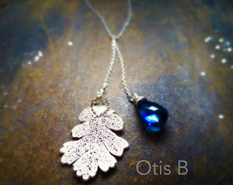 Oak Leaf Necklace, London blue topaz, Lariat necklace, real leaf necklace, leaf jewelry, custom gemstone necklace, otis b, briguysgirls