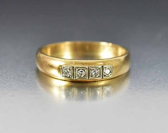 Art Deco Diamond Wedding Ring, Diamond Engagement Ring, Gold Wedding Band, Bridal Ring, Antique Jewelry, Anniversary Diamond Ring