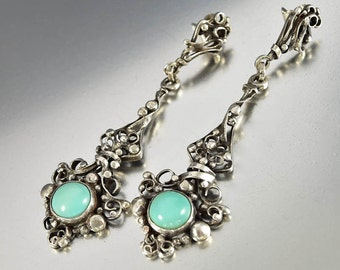 Antique Arts & Crafts Turquoise Earrings, 950 Sterling Silver Earrings, Long Drop Pierced Dangle Earrings, Arts Crafts Jewelry, Statement