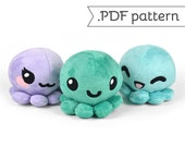 Octopus with Animal Variation Plush Sewing Pattern .pdf Tutorial Kitty Bunny Fox Panda Alpaca
