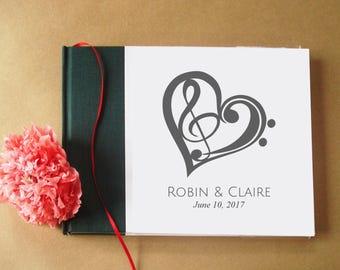 CUSTOM Musical Wedding Guest Book · Guest Book Musical · Guest Book for Musicians · Musician Gift · Guestbook Blank Sheet Music