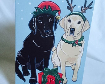 Christmas Labs - Greeting Card