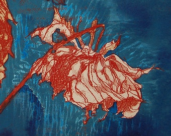 Fall Dahlias II Botanical hand colored etching / woodblock signed and numbered