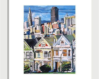 Framed Painted Ladies, San Francisco Print Black or White Frame 11x14,  Victorian Art Print, SF Cityscape, Urban Painting by Gwen Meyerson