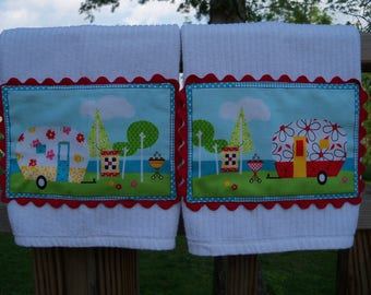 Kitchen Tea Towels Quilt Camp Decorated White Kitchen Linens Home & Living Set of Two