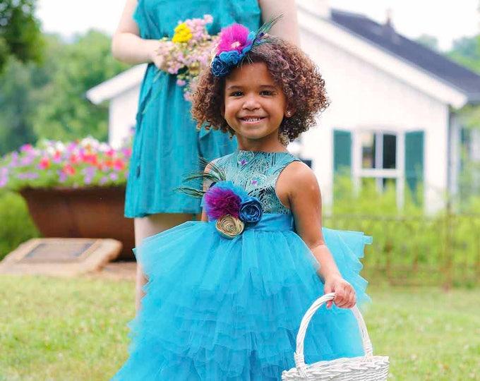Peacock Flower Girl Dress - Boutique Toddler Dresses - Toddler Pageant - Custom - Full Length Dress - Wedding - Headband - 2T to 8 Yrs