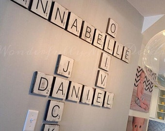 Large Letter Tiles for the wall . Home Decor . Farmhouse Decor. Rustic Home Decor . Wood Signs