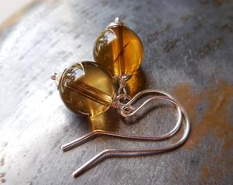 Citrine earrings, yellow citrine, 925 sterling silver, gemstone semi precious gem stone natural golden honey citrine crystal quartz earrings