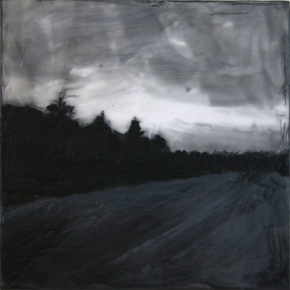 Morning Journey by Ingrid Blixt - Crow on wire, original encaustic painting on wood