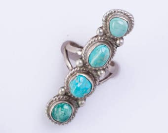 Navajo Long Turquoise Ring - 70s  4 Stone Sterling -  sz 7 1/2