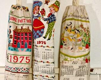 Plastic Bag Holder | Repurposed Vintage Calendar Tea Towel