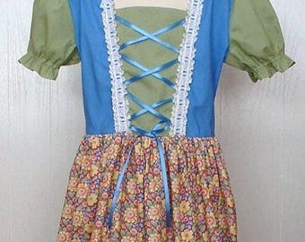 Girls 10/12 Peasant Dress Renaissance Faire Swiss Miss Belle Historical Medieval Heidi Modest Dress Theater Play Costume   Ready to Ship