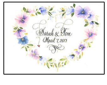 Personalized Unique Wedding Gift in Hand Calligraphy with watercolor flowers.