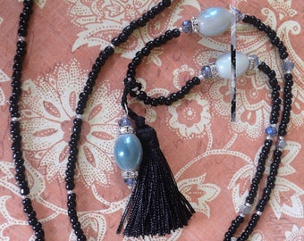 Hand Made Black Beaded Tassle Necklace with Opalesque Focal Beads and Rhinestone Accents- 3ft Beaded Rope