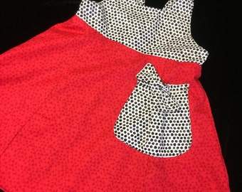 Reversible red cotton bow dress size 5-8 years