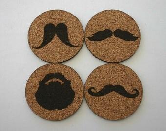 Mustache Beard Cork Coasters Set of 4 Coasters Man Cave