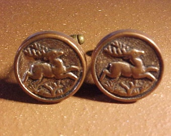 Vintage Button Cuff Links - Stag Image
