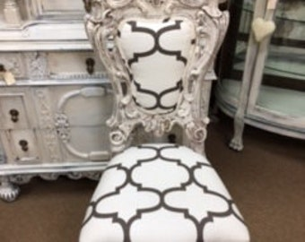 Ornate Chair in Creamy White and Taupe