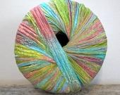 italian ribbon yarn . touch of spring . berlini memento ribbon yarn . 88yds . robins egg blue salmon pink apple green luxury ribbon yarn