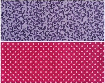PP012 ~ Lot of 2 fabrics Purple fabric Dark purple leaves Small print Pink fabric White dots Hot pink Raspberry pink Dotted fabric Quilting