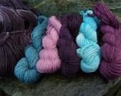 On Sale in May 10% off Knitting Crochet kit, shawl, sock yarn shawl kit, handpainted wool sock yarn kit Ravelry pattern-Romance