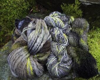 Handpainted handspun Yarn kit bundle, three skeins OOAK, bulky Merino, Silk, Alpaca, Bamboo-Haint