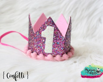 First Birthday Glitter Crown { Confetti Sprinkles } Rainbow, 1st cake smash, pink princess crown, party favor photography prop