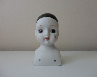 VINTAGE teary eye porcelain DOLL HEAD
