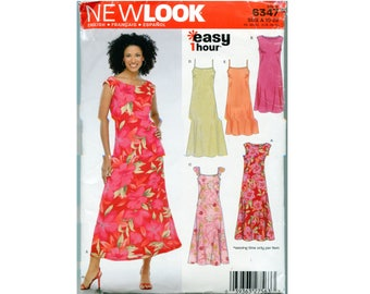 Pullover Dress Pattern - Size 10 12 14 16 18 20 22 - Flared Skirt - New Look 6347 - Sleeveless - Help Feed Rescued Cats