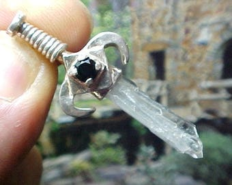 Black Onyx Tabby Crystal Silver Swords of Stone Pendant 324