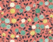 Birch Organic Fabric, Coral Roses, Hidden Garden ,by the half-yard