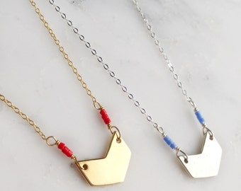 Modern Chevron Color Pop Necklace Sterling Silver or Gold / Layering Geometric Arrow Minimalist