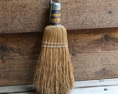 Vintage Whisk BROOM- Small Straw Hand Broom- Rustic Whisk Broom- Clothes Brush- Vintage Primitive Household- Rustic- L18