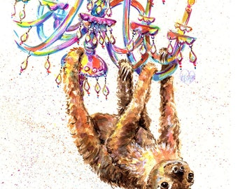 Sloth print, Sloth art, Two toed Sloth print, Chandelier, Party animal, two toed Sloth, Funny sloth art, Marias Ideas